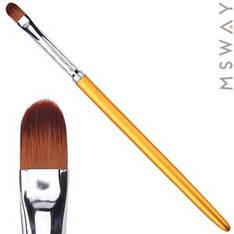 Кисть для геля KATTi 51 282 золотые метал. ручки плоская купольная 6х9мм