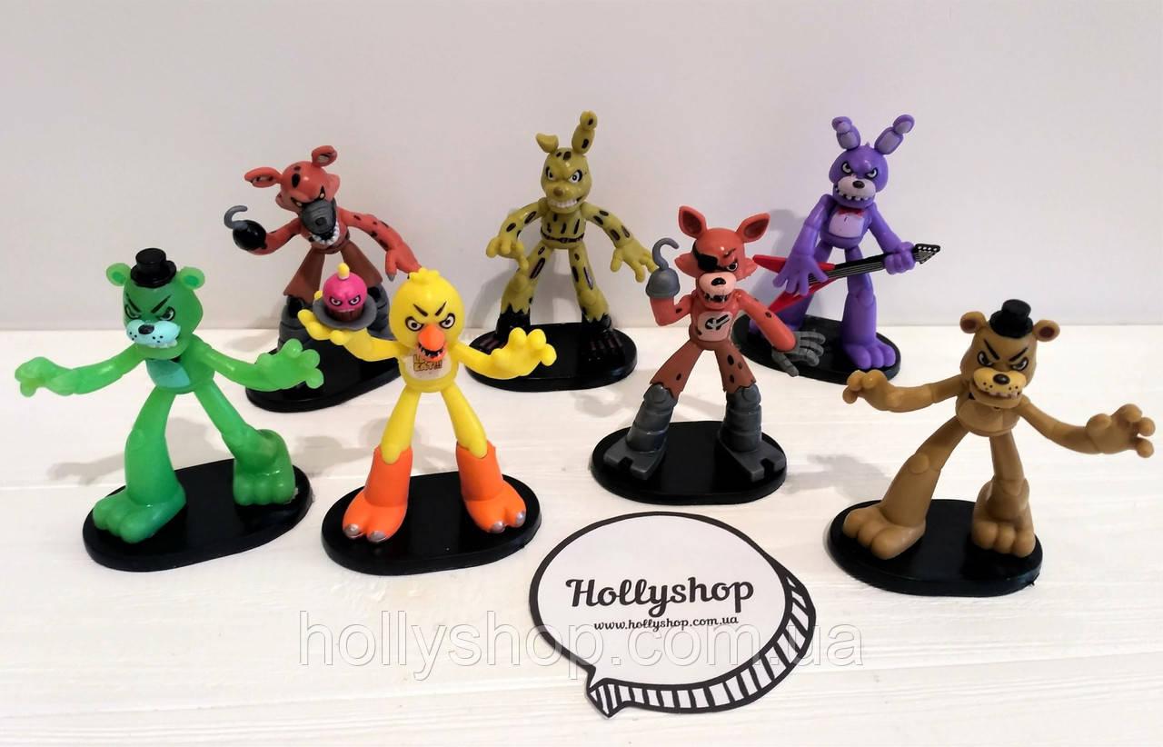 Набор фигурок Кошмарные Аниматроники из игры Пять Ночей с Фредди на подставке