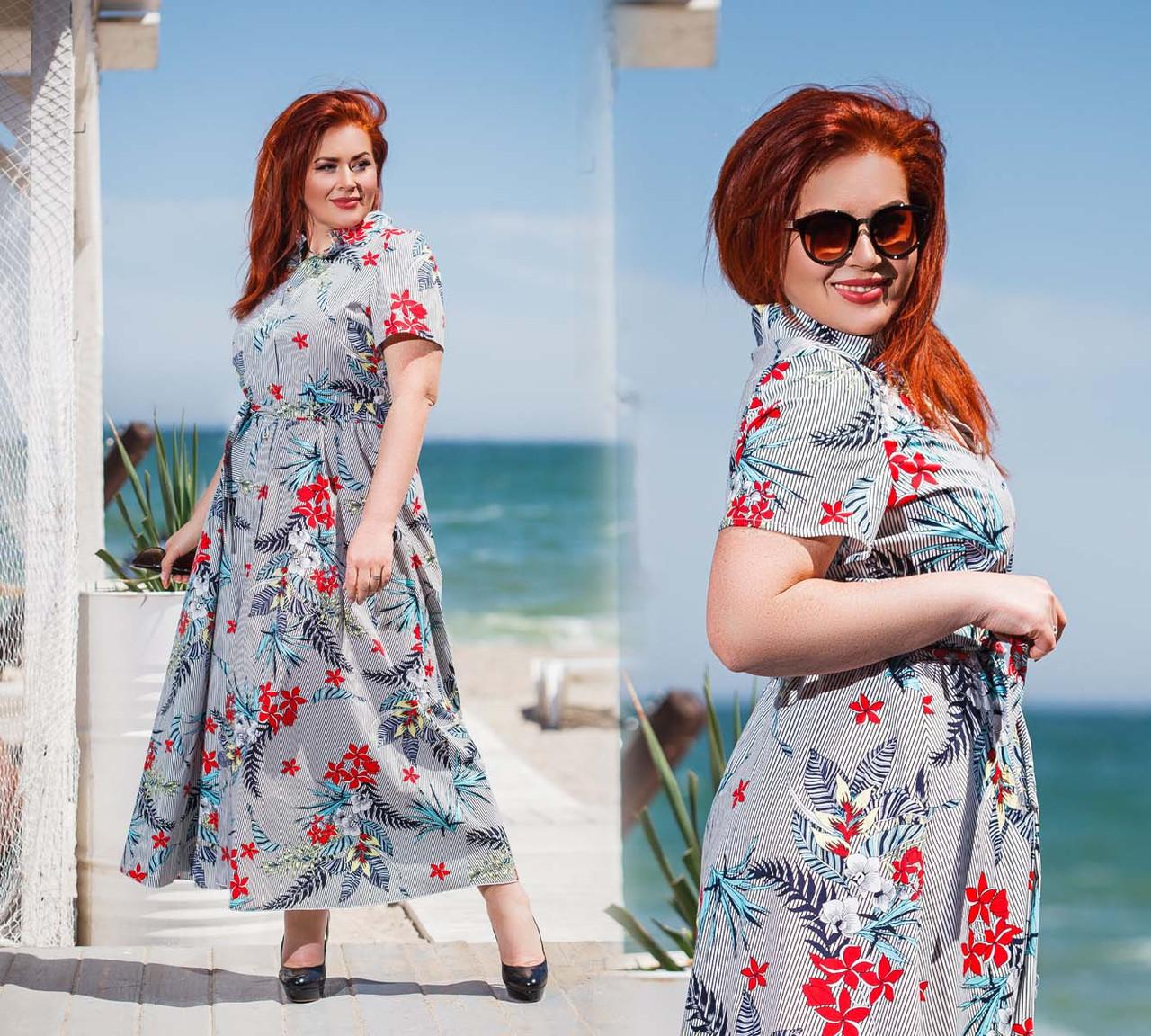"""Женское летнее стильное платье в больших размерах 0429 """"Коттон Полоска Цветы Макси Пуговицы"""""""