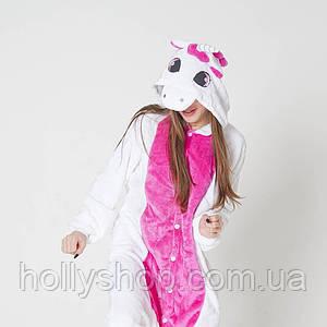 Пижама кигуруми Футужама Единорог бело - розовый