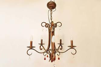Кованная люстра на 5 ламп, с элементами декора( Хрусталь)