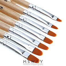 Кисть для геля KATTi 51 256 деревянные ручки Monja №12 7х12мм, фото 2
