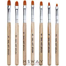 Кисть для геля KATTi 51 256 деревянные ручки Monja №12 7х12мм, фото 3