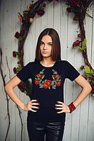 """""""Родные цветы"""" футболка черного цвета с вышивкой"""