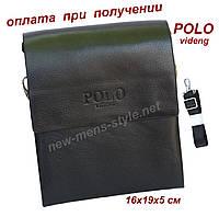 Мужская фирменная чоловіча кожаная сумка барсетка через плечо POLO Поло