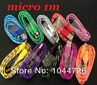 Micro USB кабель 1м. Зарядка для телефона автомобильная ткань тканые нейлон