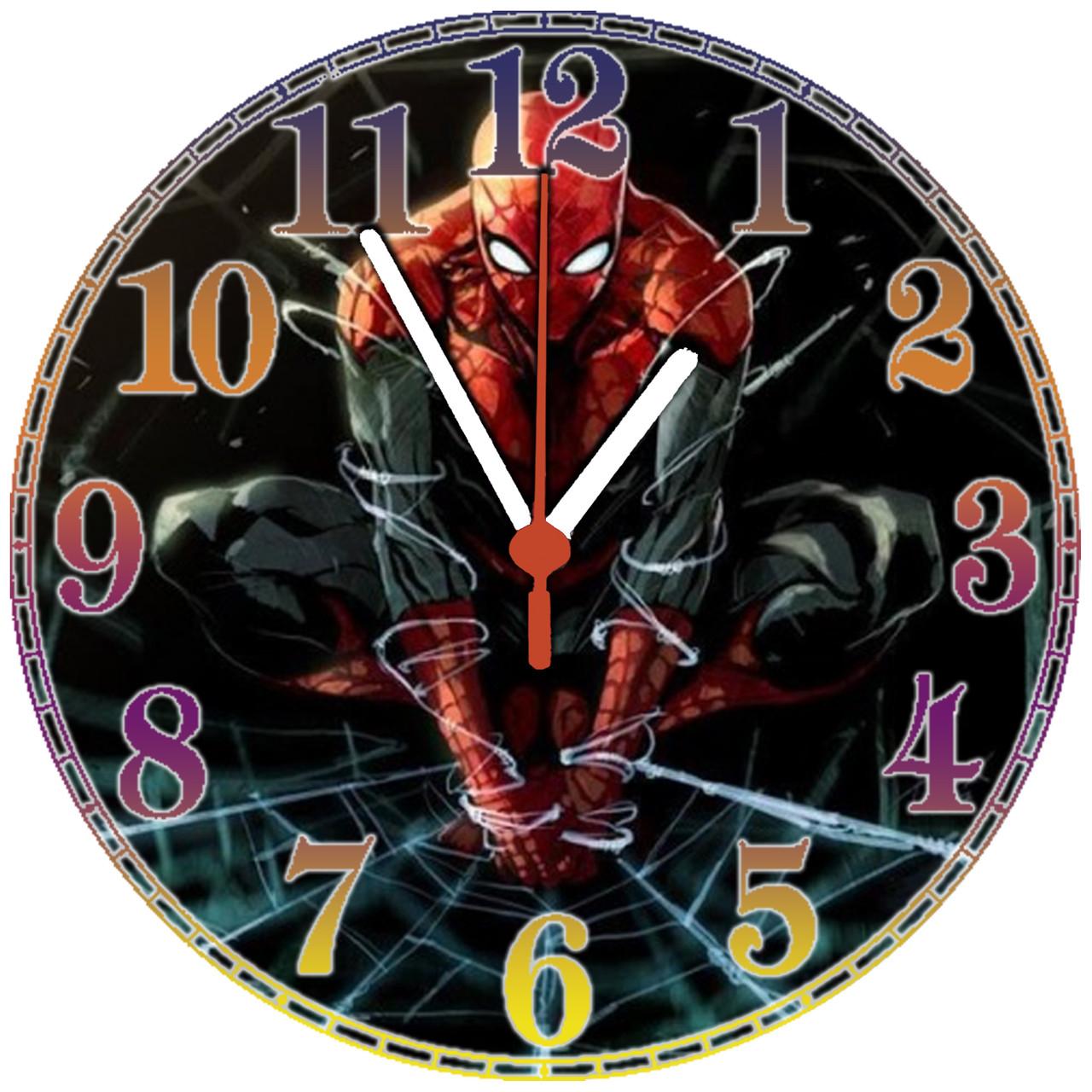 """настенные часы МДФ """"Spider-man"""" круглые"""