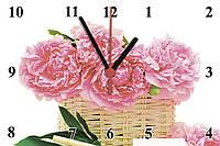 """Настенные часы МДФ   кварцевые """"Корзинка пионов"""", фото 1"""