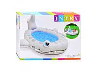 Детский надувной бассейн Intex 57433 акула, 229-226-107см, высота борта 18см, сливной клапан, с душем
