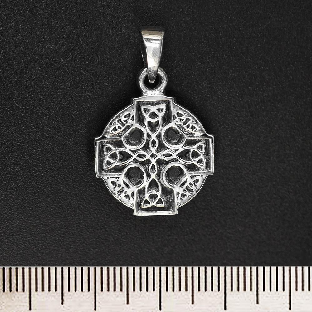 кулон кельтский крест маленький круглый серебро 925 проба