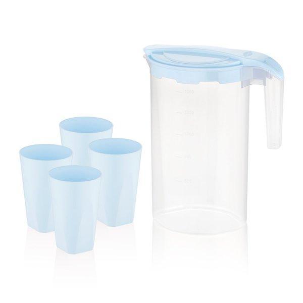 Набор питьевой,кувшин,стаканы  BAGER BG-424 BLUE, 5 предметов