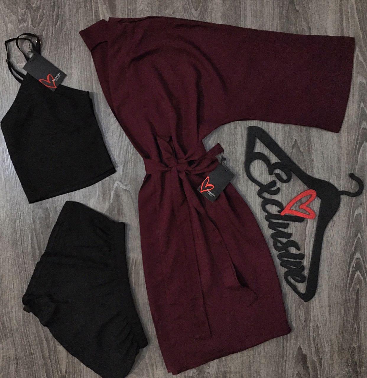 Комплект тройка халат+топ+шорты .