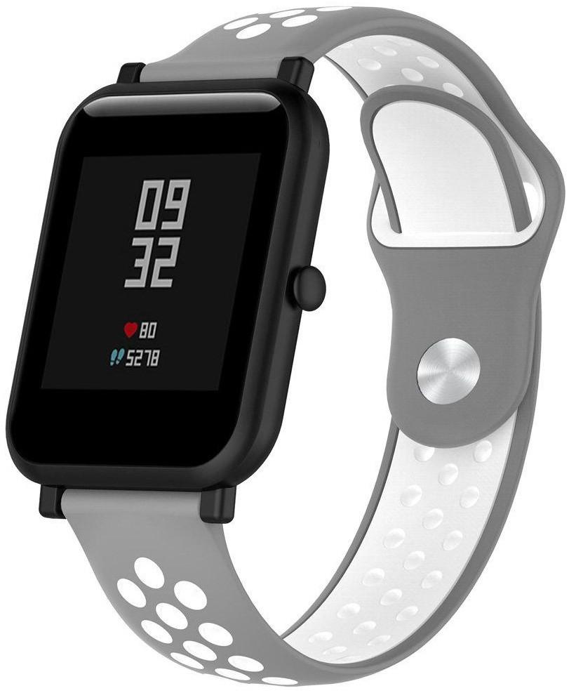 Ремешок спортивный Smart Band для AmazFit Bip Силикон Серый / Белый (459590)