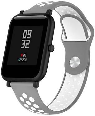 Ремешок спортивный Smart Band для AmazFit Bip Силикон Серый / Белый (459590), фото 2