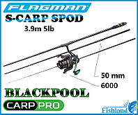 Набор на карпа. Сподовое Удилище 3-х секц. Flagman S-Carp Spod 3.90м 5lb + Катушка Carp Pro Blackpool Spod 600