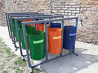 Урна для раздельного сбора мусора Круглая на 3 ведра без навеса, фото 1