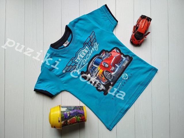 Изображение Голубая летняя футболка на мальчика с машинкой