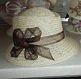 Шляпа  для лета средние поля  из рисовой соломки размер 55-57 см, фото 3