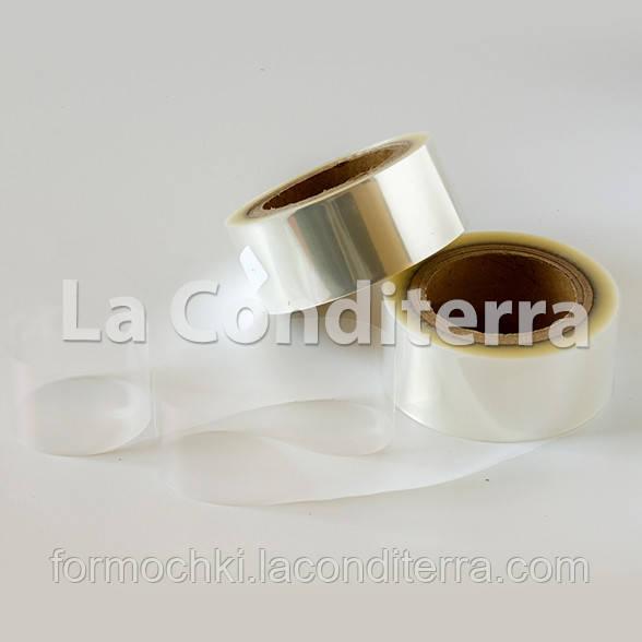 Тонкая бордюрная лента для тортов и пирожных прозрачная (h=100 мм, S=40 мкм), в рулоне 100 м