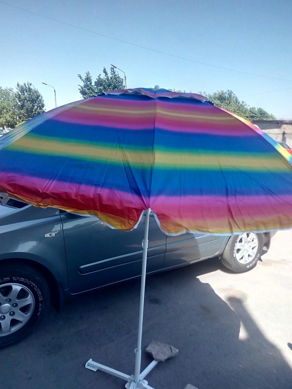 """Зонт торговый пляжный 2,2 м с ветровым клапаном и  механизмом """"ромашки""""- Радуга"""