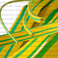 Трубка термоусадочная, 24/8.0мм, жёлто-зелёная, 1м