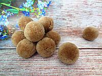 Помпоны вилюровые, d 3см, цвет коричневый, 5 шт