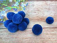 Помпоны вилюровые, d 3см, цвет синий (электрик), 5 шт