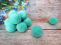 Помпоны вилюровые, d 3см, цвет аквамарин, 5 шт
