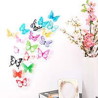 Набор №52 из 18 шт разноцветных  декоративных 3-D бабочек