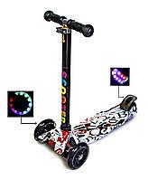 """Детский самокат Scooter MAXI. С принтом """"ABC"""". Светящиеся колеса!, фото 1"""