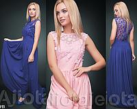 Вечернее платье длинное макси с гипюром