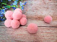 Помпоны вилюровые, d 3см, цвет розовый, 5 шт