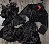 Черный комплект тройка халат и пижама.