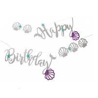 Гирлянда в стиле Русалки Happy Birthday серебро