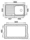Кухонная мойка Ukinox WAVE 860.500 GT 8K полировка, фото 2