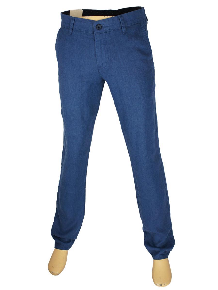 Летние мужские льняные джинсы  X-Foot 170-7134 blue в синем цвете