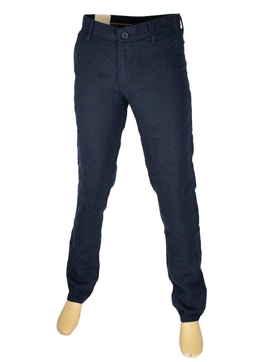 Темно-синие льняные джинсы  X-Foot 170-7134 d.blue для мужчин