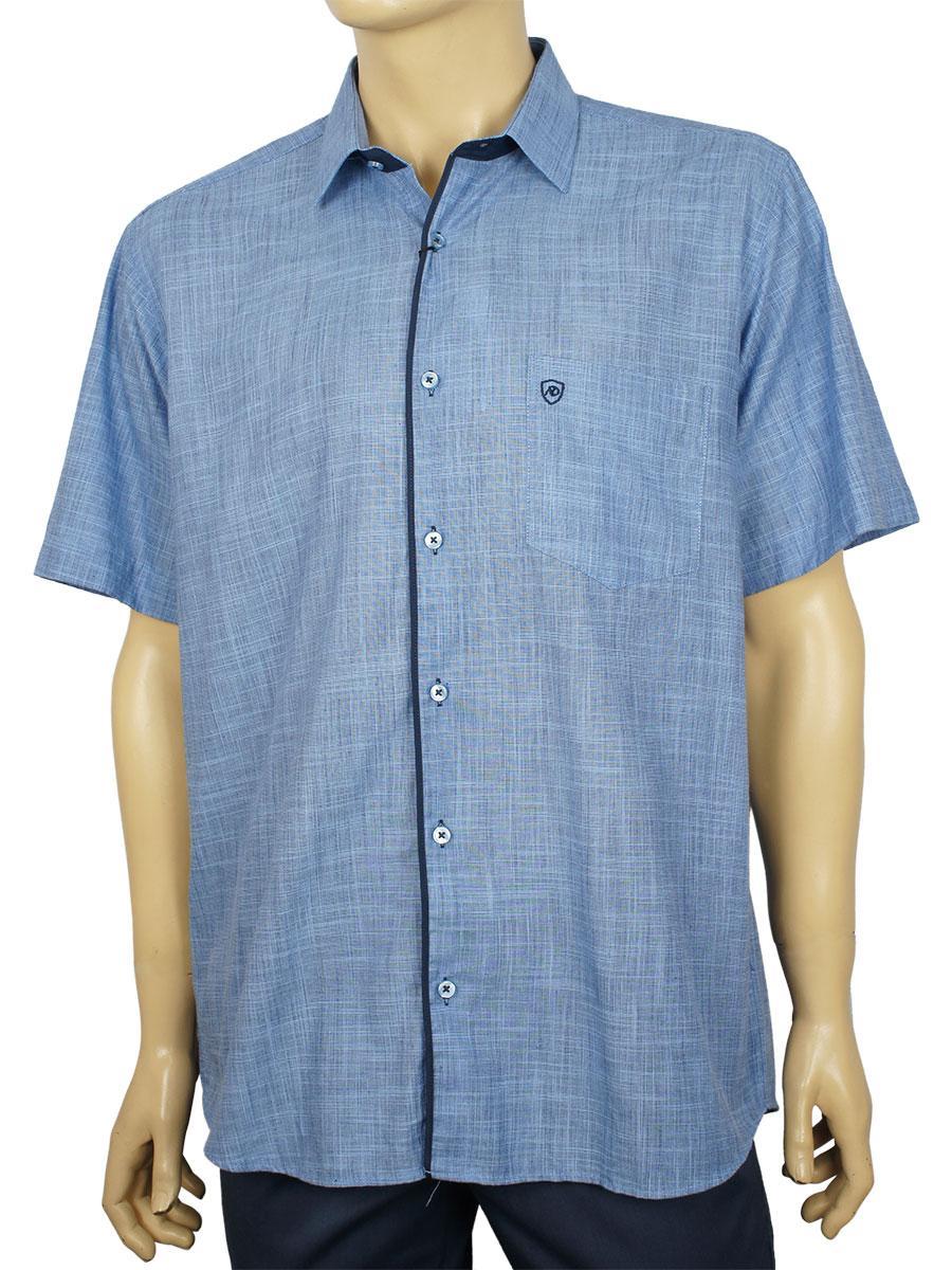 Мужская рубашка лен короткий рукав Negredo 1038#29 Lacivert