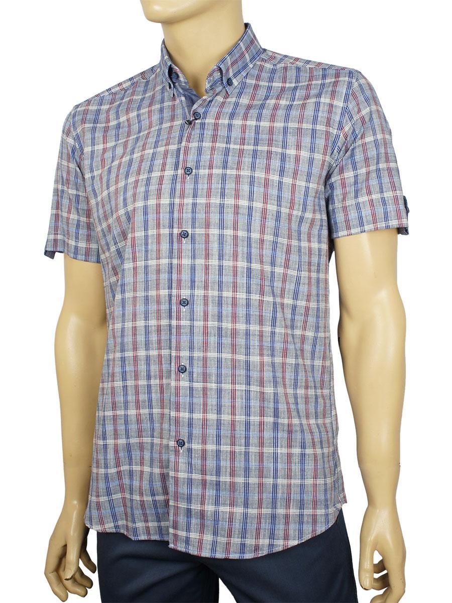 Мужская приталенная рубашка Negredo 9046#46 slim короткий рукав
