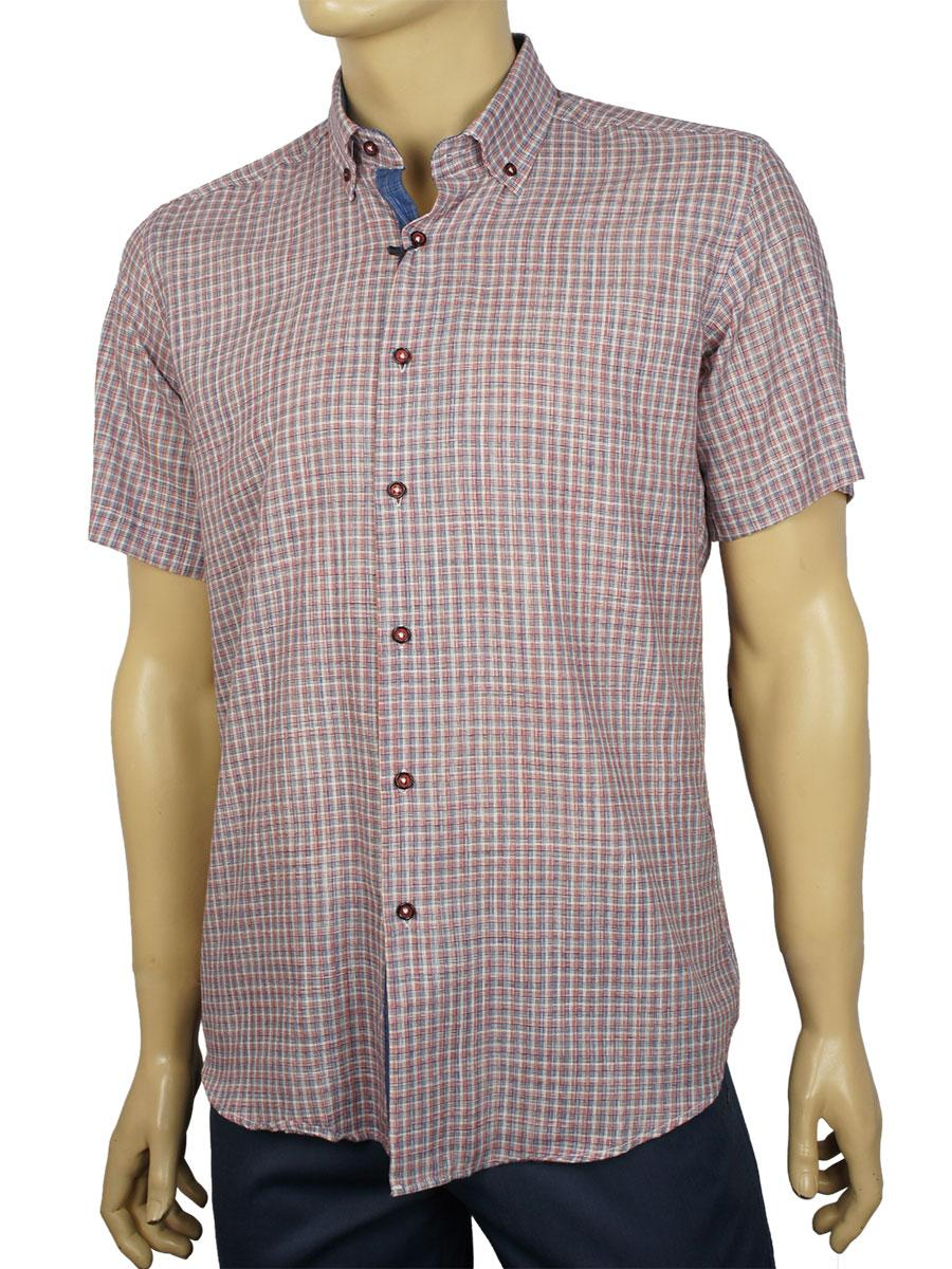 Мужская рубашка в клеточку Negredo 9046#85 slim red короткий рукав