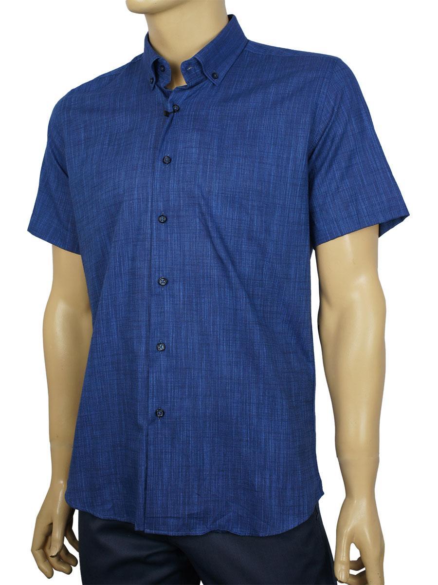 Турецкая мужская рубашка Negredo 9047#06 dark lacivert синего цвета