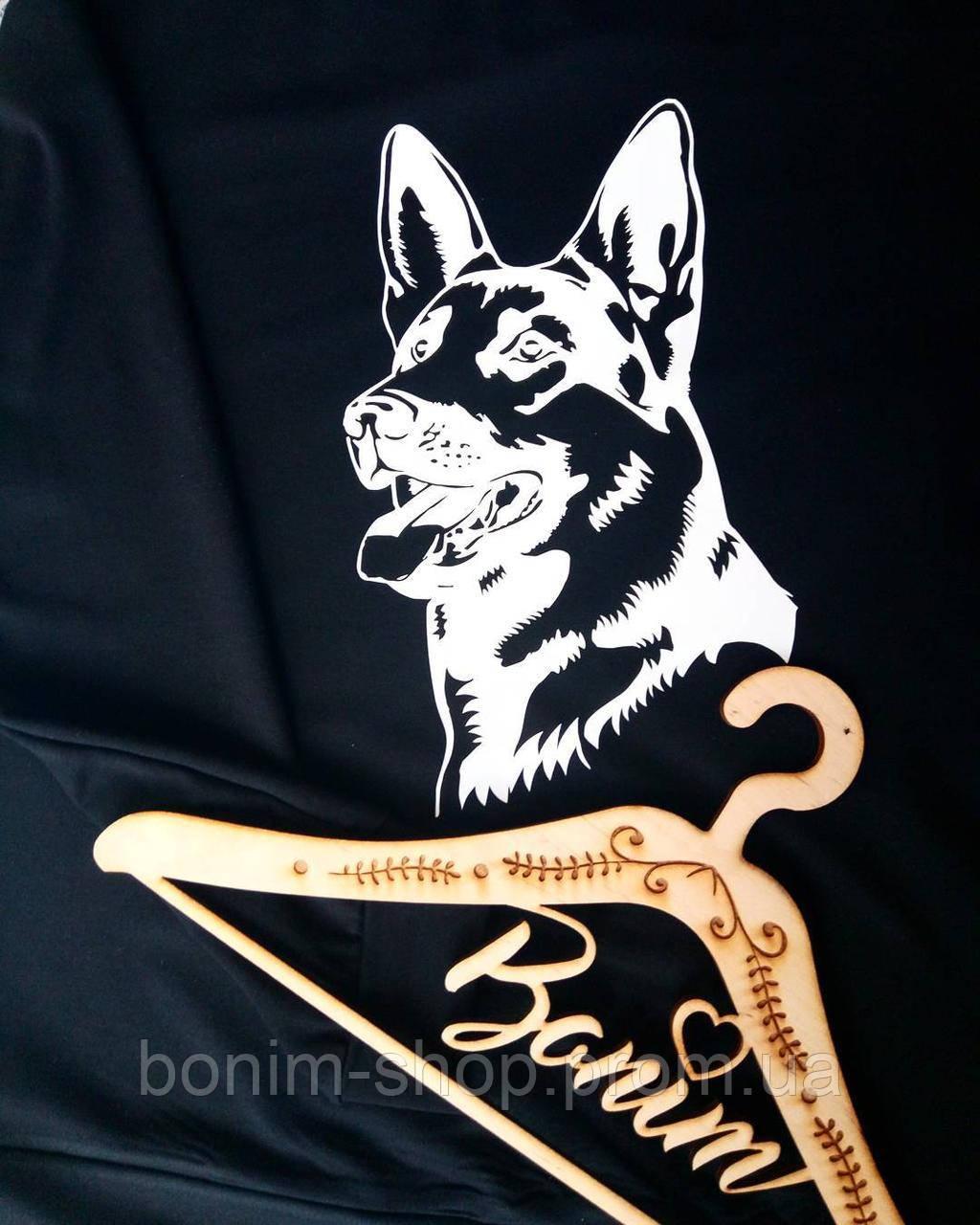 Черный женский свитшот с принтом Собака