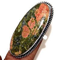 Крупный серебряный перстень  с  эпидотом , размер 18, фото 1