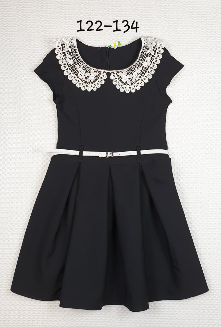 Платье для девочки  Зоряна в складку 122-134 ЧЕРНОЕ
