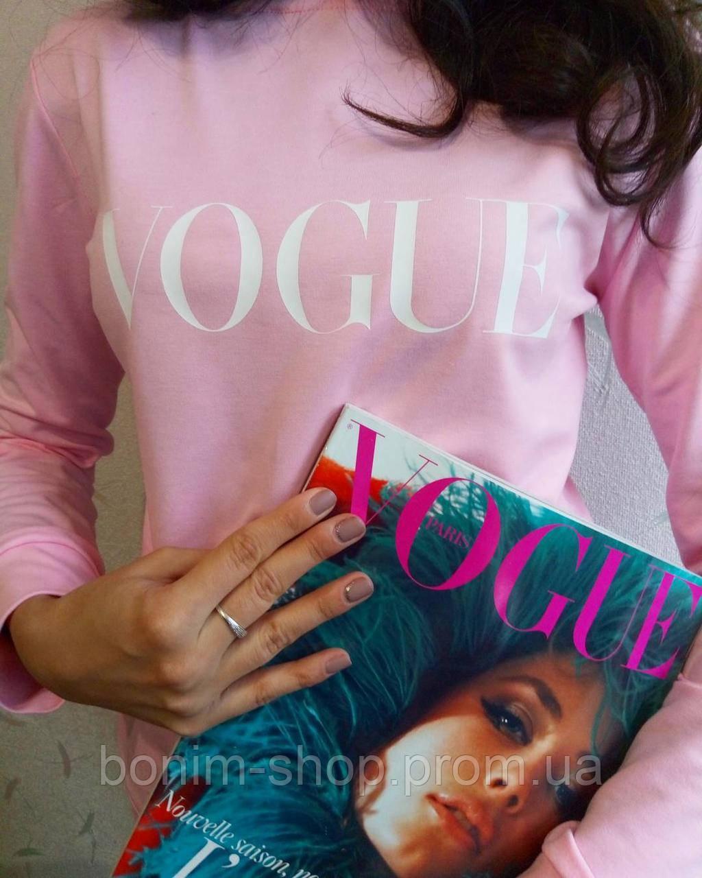 Розовый женский свитшот с принтом Vogue