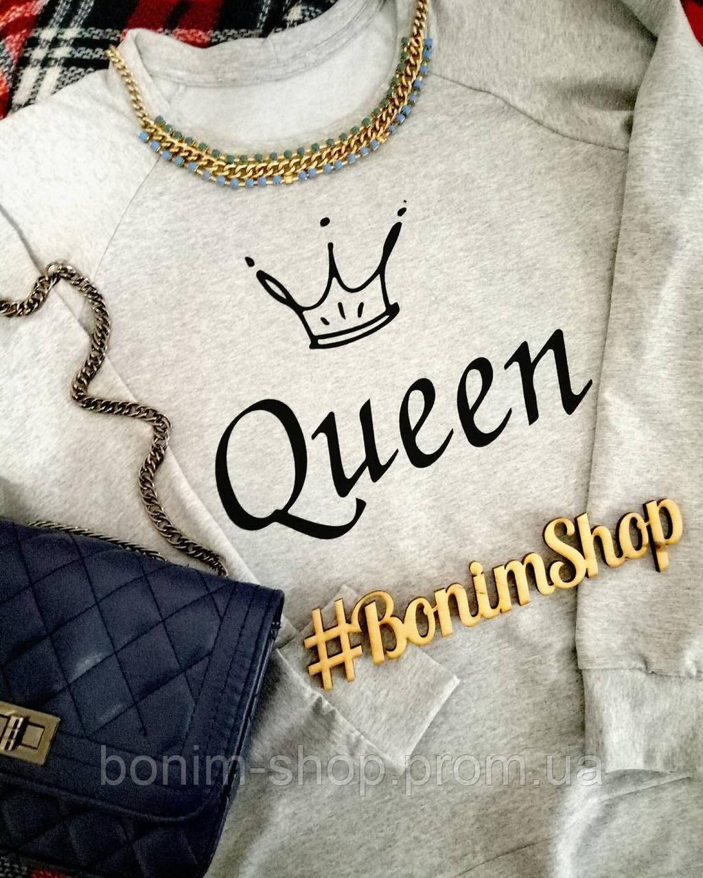 Белый женский свитшот с принтом Queen
