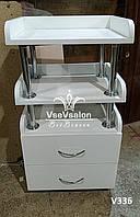 Тележка (тумба) косметологическая в салон, столик на колесах, этажерка. Модель  V336 белая