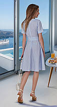 Расклешённое льняное женское платье в полоску, фото 2