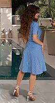 Расклешённое льняное женское платье в полоску, фото 3