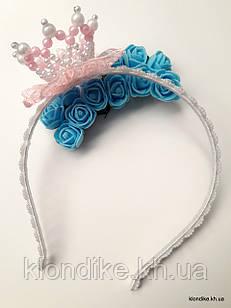 """Обруч для волос """"Принцесса"""" с короной из жемчужных бусин, Цвет: розовый, белый"""